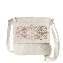 Linen bag 'Anet' gray with silk embroidery