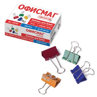 Clips for papers FISMA, SET 12 PCs. 19 mm, 60 sheets, colored cardboard box