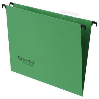 Hanging folder A4 (350х245 mm), up to 80 sheets, SET of 10 PCs, green, cardboard, BRAUBERG (Italy)