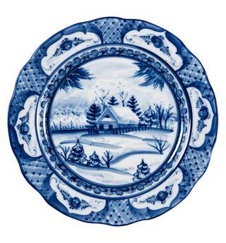 Oak soup plate diameter 240 mm 2 grade, Gzhel Porcelain factory