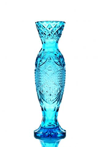 """Crystal vase for flowers """"Narcissus"""" turquoise"""
