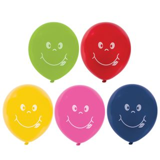 """GOLDEN FAIRY TALE / Balloons 12 """"(30 cm), SET of 5 pieces, assorted 5 colors, with"""" Smile """"pattern, package"""