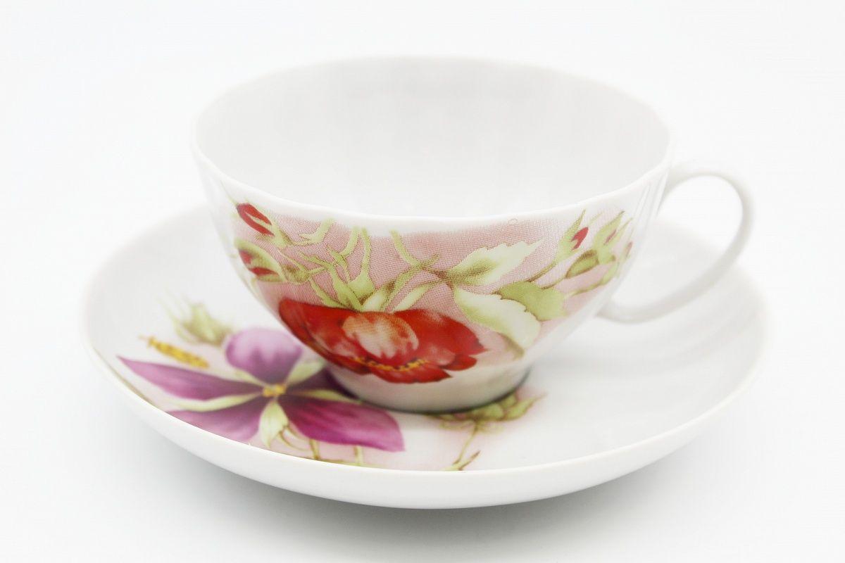 Dulevo porcelain / Tea cup and saucer set, 12 pcs., 275 ml White swan Alpine flowers