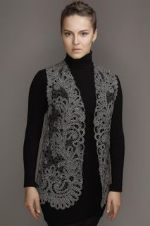 Vest women's lace with ornaments in the form of branches