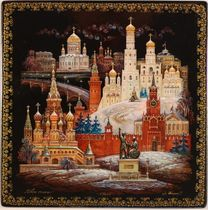 Kholuy art lacquer miniature box Moscow, Cathedrals of the capital (Teplov)