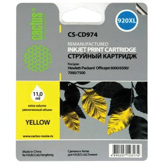 Inkjet Cartridge CACTUS (CS-CD974) for HP Officejet 6000/6500/7000, Yellow, 11 ml