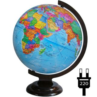 Political globe with a diameter of 320 mm on a wooden stand with backlight