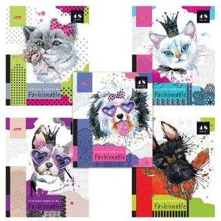 Notebook A5, 48 sheets, HATBER, staple, cage, sequins,