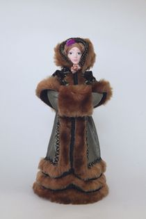 Doll gift porcelain. Women's winter suit.2nd quarter of 19th century - Europe.