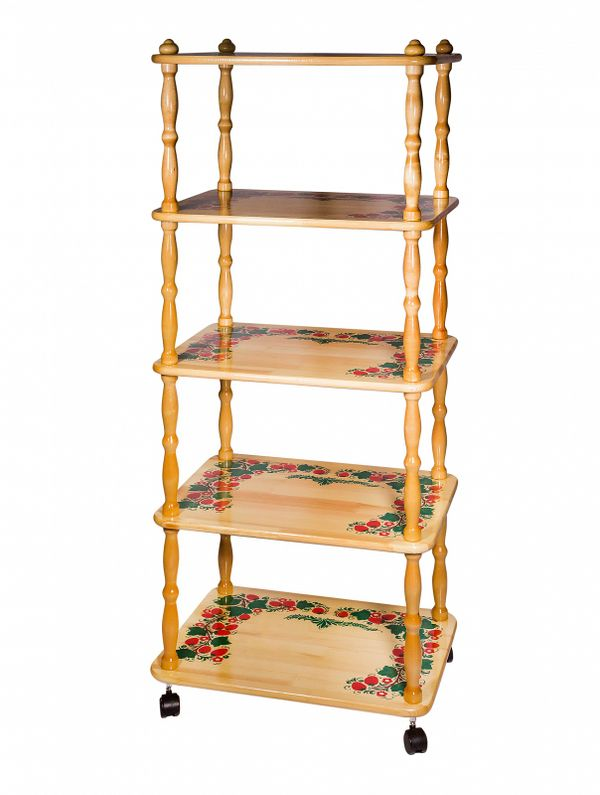Khokhloma painting / Wooden shelf 5 tiers 1380x600x450 mm
