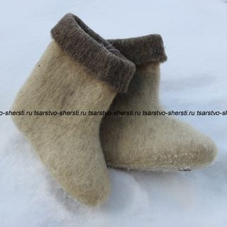 Valenoks from natural sheep wool without design