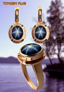 Set: ring and earrings in gold with star sapphire
