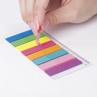 Bookmark adhesive BRAUBERG NEON plastic, 45х12 mm, 8 colors x 25 sheets, on a plastic ruler 12 cm