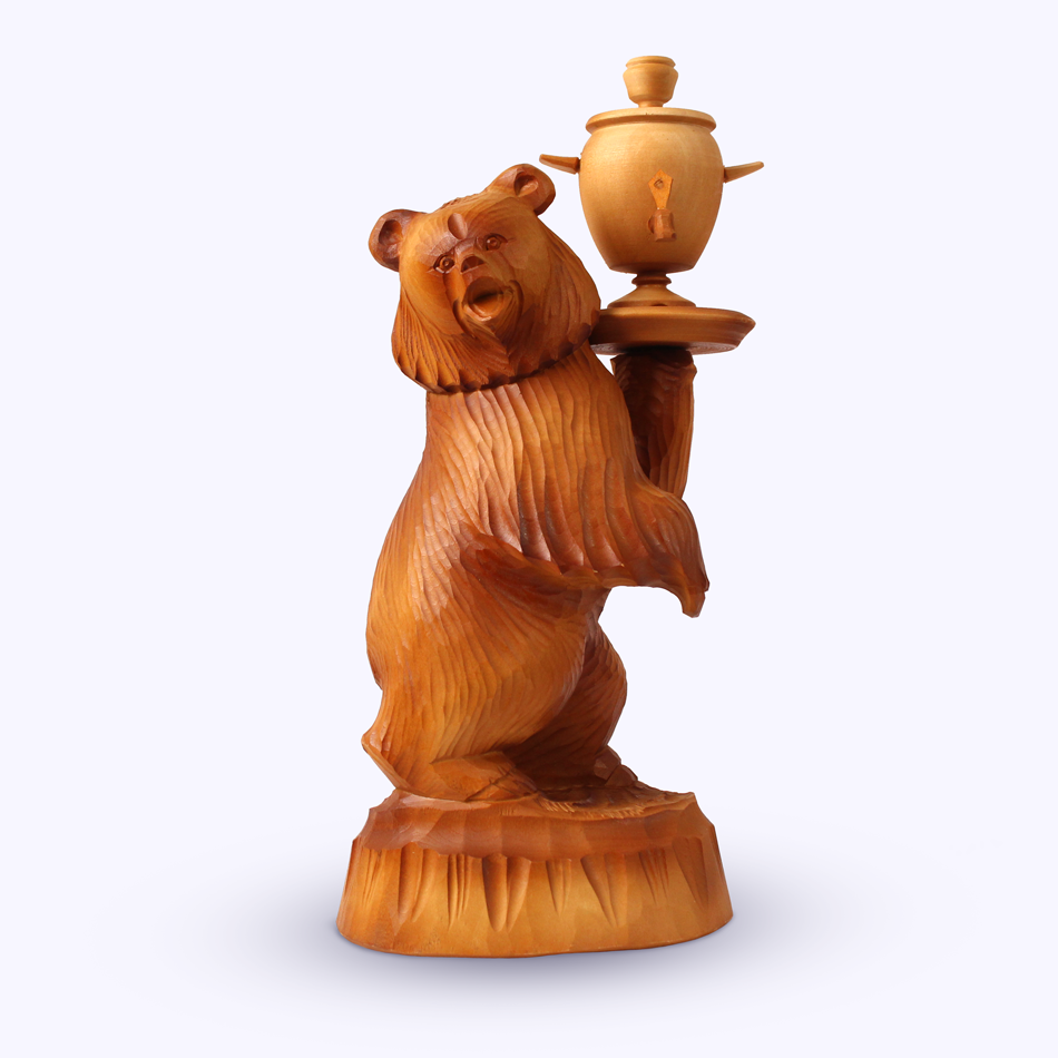 "Bogorodskaya toy / Wooden souvenir ""Advertising bear"""