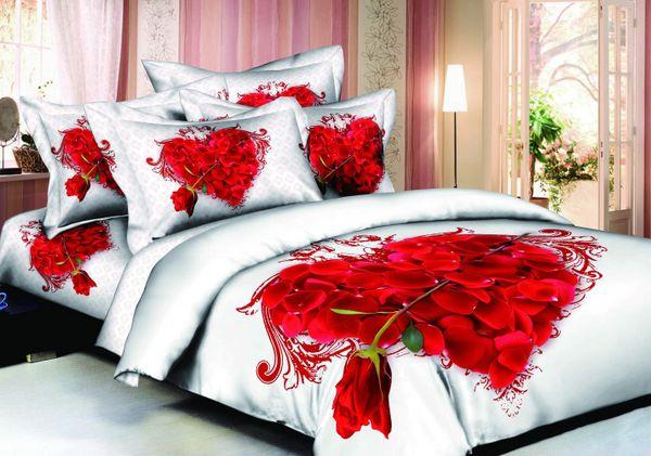 Satin bed linen 3D love