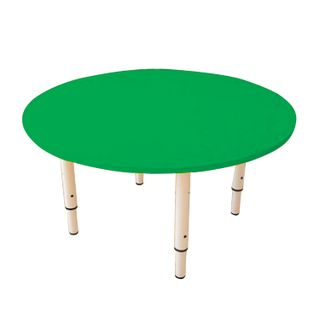 Children's round table, 800 x800 x400-580 mm, adjustable, height 0-3 (85-145 cm), green plastic, ivory
