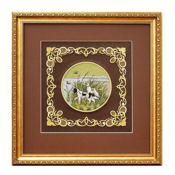 Mural 'Hunting dog' brown with gold embroidery