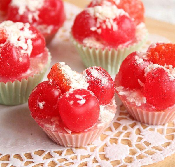 Handmade cherry and tangerine cake - handmade soap