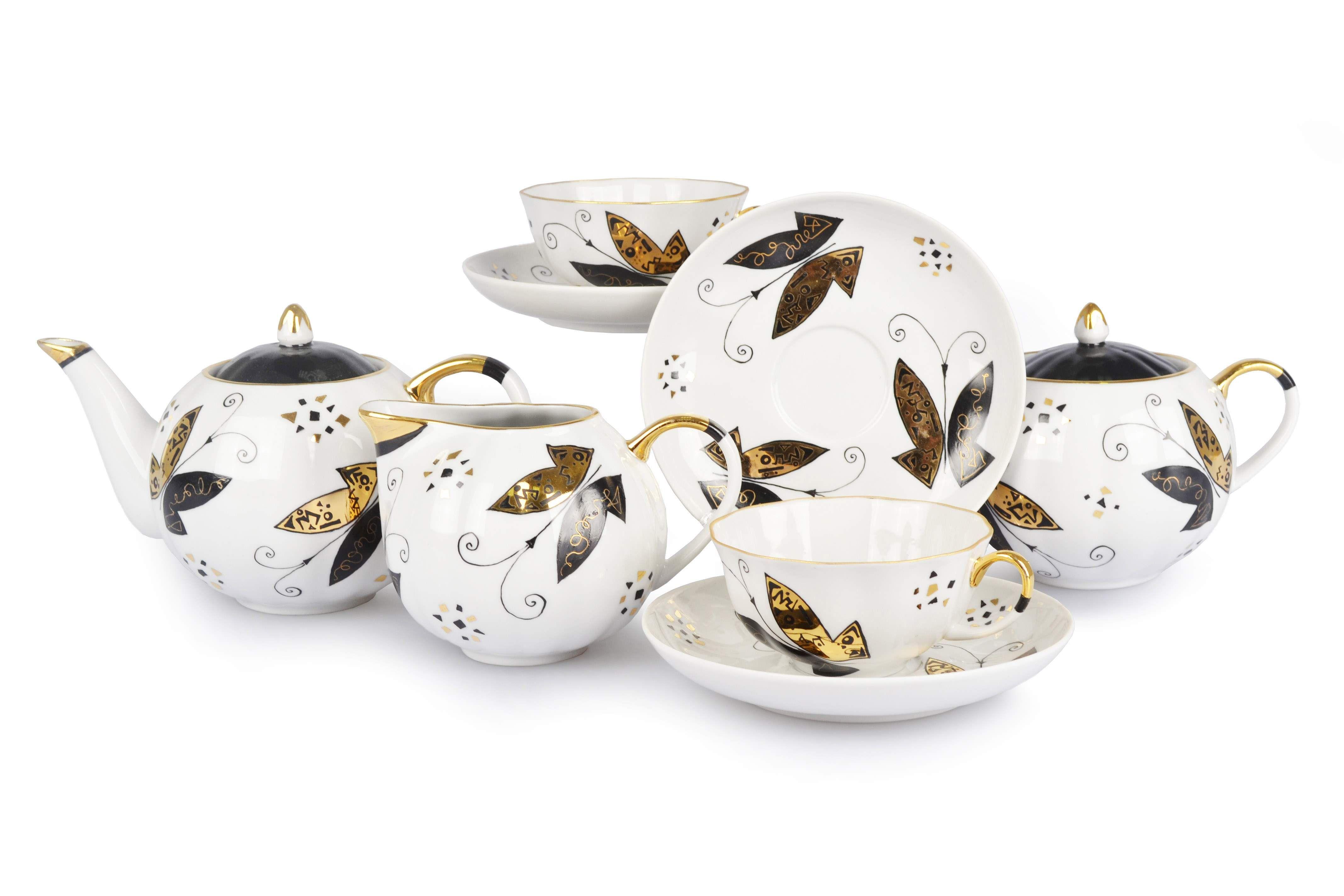 "Dulevo porcelain / Tea set 15 pcs. Tulip rice. ""Moths"""