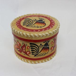 """Box of birch bark """"Rakulskaya painting"""" round 9 cm"""