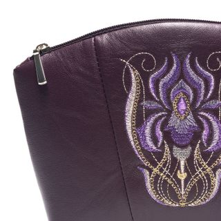 Leather cosmetic bag iris purple with gold embroidery