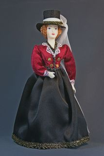 Suit for riding. Amazon. The middle of the 19th century. European fashion. Souvenir doll.