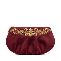 Red satin fantasy bag with gold pattern