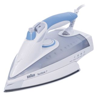 Iron TS765A, 2400 watts, non-stick coating, auto power off, self-cleaning, anticaps, white/blue
