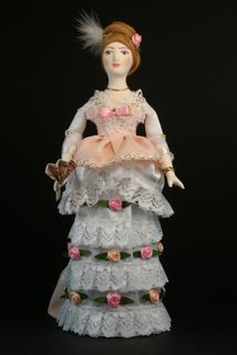 Doll gift porcelain. Girl in ball gown. 1870 city of Petersburg