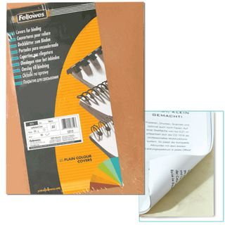 Cardboard covers for A4 binding, SET 100 pcs., Leather stamping, 250 g / m2, ivory, FELLOWES