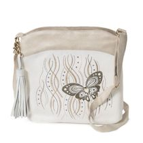 Linen bag 'Butterfly' in white with silk embroidery