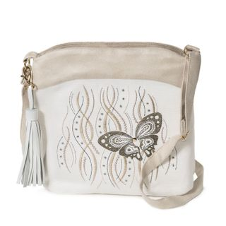 "Linen bag ""Butterfly"" in white with silk embroidery"