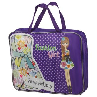 Folder with handles, A4, fabric, hard bottom, zipper on top, wide,