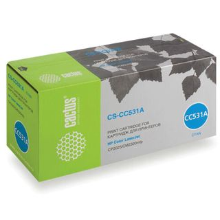 Toner cartridge CACTUS (CS-CC531A) for HP ColorLaserJet CP2025 / CM2320, cyan, yield 2800 pages.