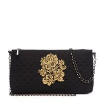 Bag 'Diodorus' of black color with Golden embroidery