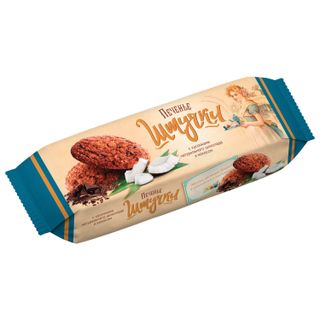 PIECES / Oatmeal cookies with natural chocolate pieces and coconut, butter, 160 g