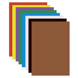 Cardboard A4 colored COATED (glossy), 8 sheets in 8 colors, PYTHAGORAS, 200х283 mm,
