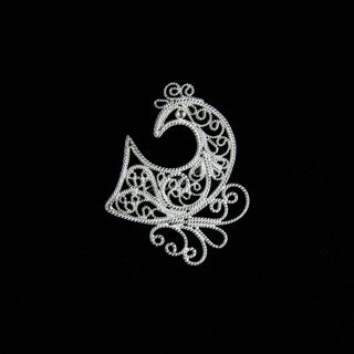 "Brooch ""Bird No. 2"" silvering, Kazakovo Filigree"