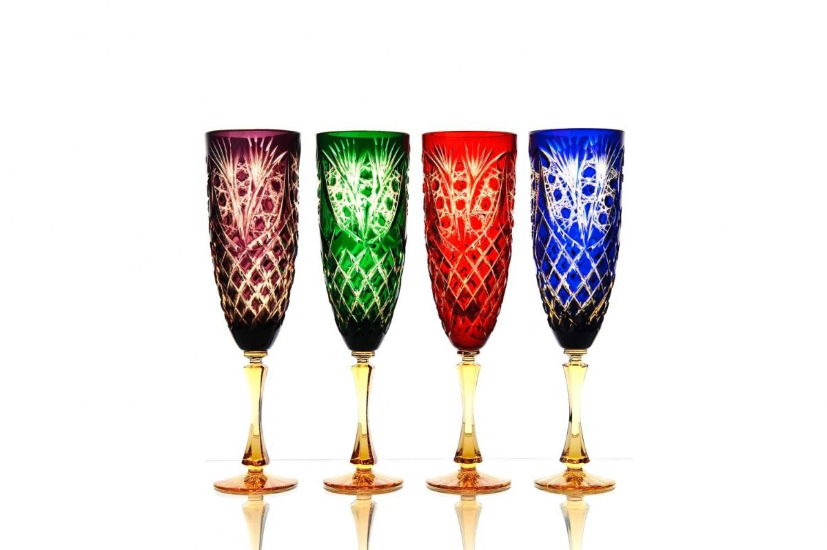 """A set of crystal glasses for water """"Pharaoh"""" multicolored, amber leg 4 pieces"""