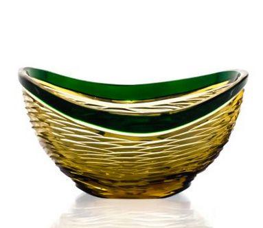 "Crystal vase for sweets ""Serenade"" amber-green"