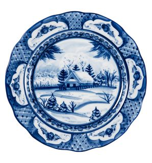 "Mug oak ""Winter landscape"" diameter 175 mm, Gzhel Porcelain factory"