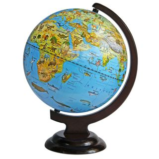 Zoogeographical globe with a diameter of 250 mm on wooden stand