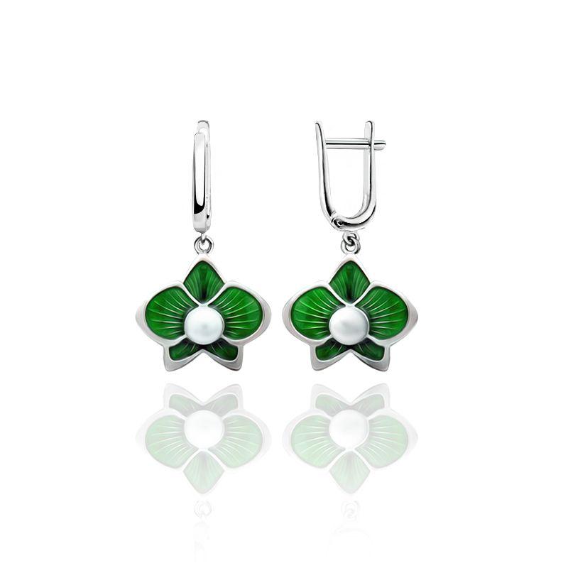 """Rostov enamel / Earrings """"Margarita"""" green"""