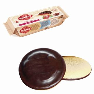 """YASHKINO / Cookies """"Strawberry"""", butter, with biscuit, jam and chocolate icing, 137 g"""
