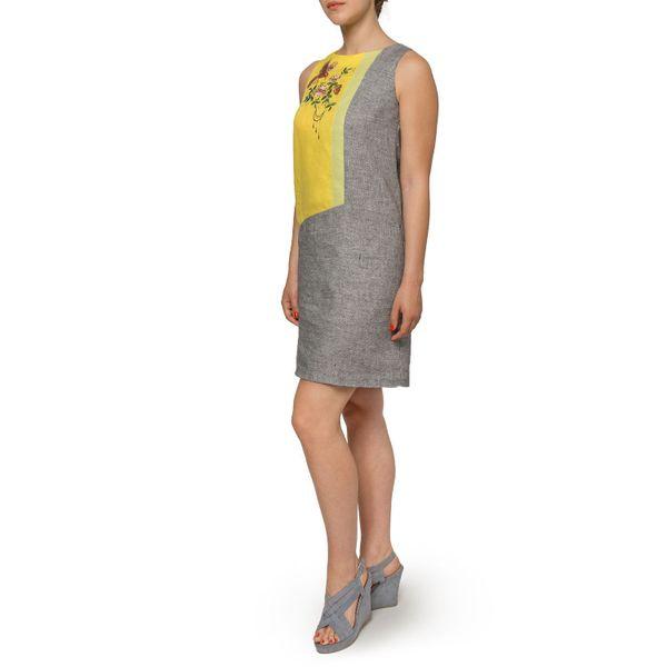 Dress women 'Wilsonia' gray with silk embroidery