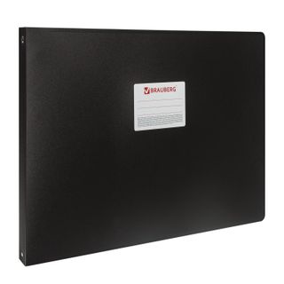 Folder on 4 rings LARGE A3 FORMAT, HORIZONTAL, 30 mm, black, 0.8 mm, BRAUBERG