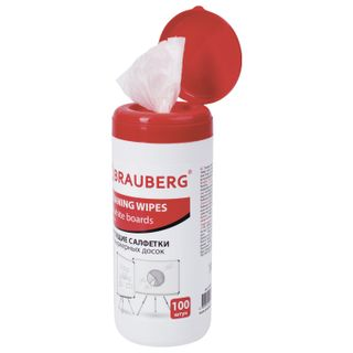 Cleaning wipes for whiteboards, in tube 100 PCs, wet, BRAUBERG