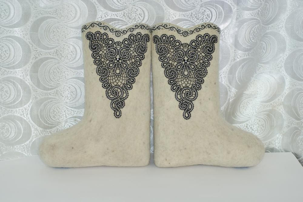 Boots decorated with rhinestones
