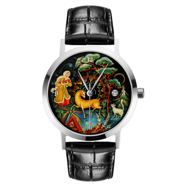 "Palekh watch ""Silver Hoof №57"" quartz, hand-painted, artist Chaparina, black band"