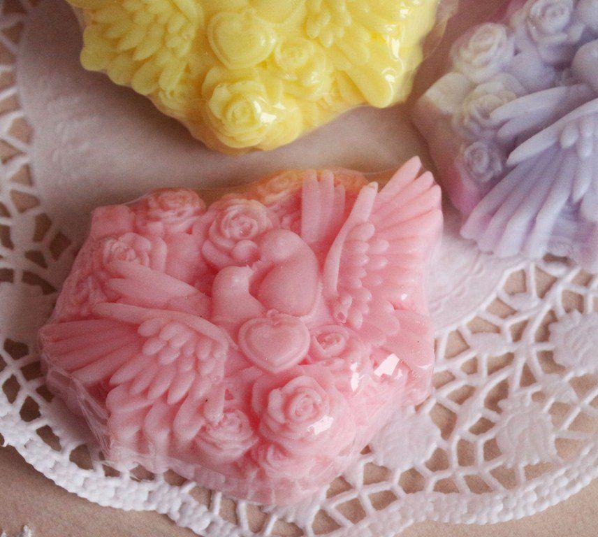 Pink lovebirds - olive handmade soap